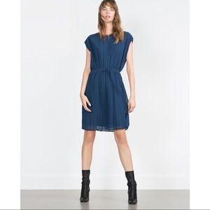 Zara Pleaded belted Blue Dress